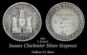 1811 Sussex Chichester Silver Sixpence D13, Rare