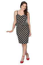 Black Retro Rockabilly Vintage Peplum Pencil Polka Dots Dress BANNED Apparel