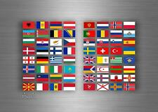 Set 64x sticker european europe flag scrapbooking country collection stamp 1,5cm