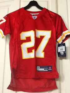 NFL Larry Johnson #27 Kansas City Chiefs Red Screen Printed Youth Jersey - Large