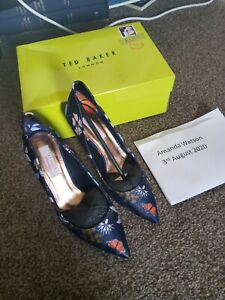 Ted Baker Dark Blue Kyoto Shoes Size 6 New In Box