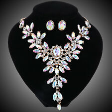 7 Colors Crystal Bridal Jewelry Set For Wedding Party Brides Necklace Earring