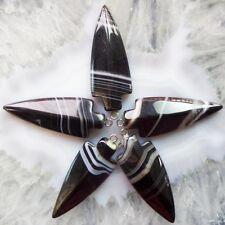 5pcs Beautiful Carved Black Onyx Agate Arrow Pendant Bead W0064440