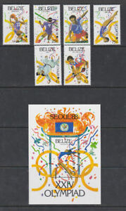 Belize 1988 Mint MNH Full Set Minisheet Olympic Games Sports Seoul Athletics