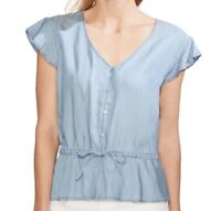 Vince Camuto Women's Top Blue Size XL Button Down Shirt Chambray $89 #559