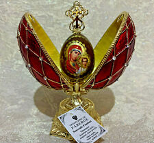 """Faberge Egg Red Orthodox Egg Icon Madonna (4.53""""). Made in Russia"""