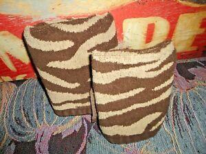 BETTER HOMES ZEBRA STRIPE ANIMAL BROWN CREAM (2PC) HAND TOWEL & WASHCLOTH SET