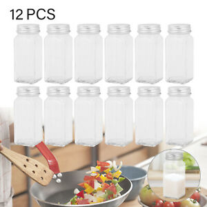 12X Spice Jars Bottles Airtight Salt Container Square Glass Seasoning Pots UK