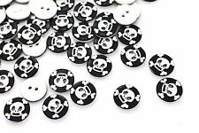 Skull Button Black And White Skulls Two Holes Halloween Round Shape 13mm 100pcs
