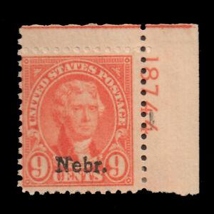 US Sc# 678 Jefferson Nebr Overprint MINT Hinged Plate Number Single CV$50