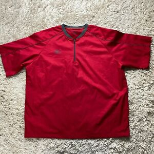 Mizuno Performance Men's Large Red 1/4 Zip Windbreaker Pullover Golf Shirt