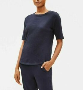 Eileen Fisher System Cotton Elbow-Sleeve T-Shirt Tee Top Petite PL Midnight