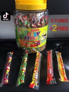 5 Tubes +2 Free TIK TOK CHALLENGE Jelly Straws Fruit Jelly Candy Assorted Flavor