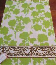 Green Kitchen Towel Heather Bailey Abstract Design with Brown Border New.18 x 25