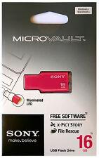 SONY USM16GM 16 GB PINK USB 2.0 Micro Vault Tiny USB Flash Drive Thumb KEY 16G
