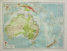 1934 LARGE MAP ~ AUSTRALASIA PHYSICAL