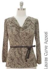 JON ANNA Beige Burgundy Animal Womens PLUS SIZE 1X 14/16 Drape Neck Blouse Top