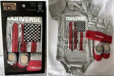 Converse All Star Baby Boy's American Flag Bodysuit Bootie Cap 3-Piece Boxed Set