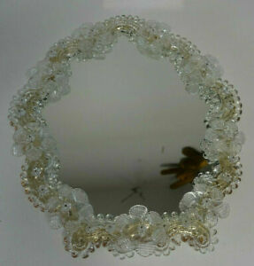 Schöner *kleiner * prunkvoller * Murano Spiegel *geschliffen * Rosetten & Blüten