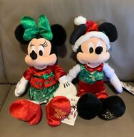 Disney Store 2019 Mickey & Minnie Mouse Holiday Plush Christmas Doll Medium New