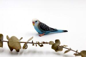 Miniature Bird - Blue Parrot Budgerigar / Budgie - Fairy Garden