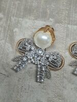 Authentic Miu Miu 18 K Gold Plated Crystal Encrusted Pearl Bow Clip Earrings
