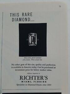 1949 rare 23 1/2 carat blue white diamond ring vintage jewelry Richters ad