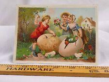 Embossed Victorian Easter Trade Card Gem Baking Powder Children Giant Eggs #I