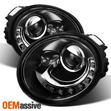 Black 98-05 Volkswagen Beetle Coupe DRL LED Projector Headlights Lamps 1998-2005