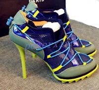 Womens Chic Hollow Lace up High Heel Mesh Stiletto Sport Sneaker Denim Shoes sz