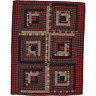 New Primitive Lodge LOG CABIN QUILT Black Red Patchwork Quilted Blanket Throw