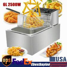 63qt 110v 6l Commercial Electric Deep Fryer Restaurant Stainless Steel 1700w Us