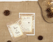 Rustic Burlap & Lace Save the Date Cards