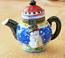 Mary Engelbreit Miniature Teapot Collectible ~ Snowman ~ Hinged Lid ~ Christmas