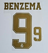 Real Madrid Karim Benzema 2019 2020 patch lettering gold 9 iron on jersey heat