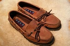 Polo Ralph Lauren Mens Brown Moc Leather Boat Style Casual Shoes Size 8.5