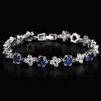 Jewelry Bride Bracelet Bangle Flower Shape White Gold Plated AAA Cubic Zircon