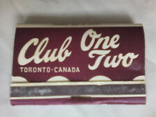 VINTAGE MATCHBOOK,CANADA TORONTO,CLUB ONE TWO,PARTIES SOCIALS,UNUSED