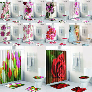 Floral Shower Curtain Rose Tulip Flower Decor Romantic Love Toilet Seat Cover