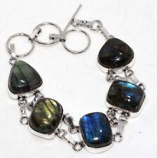 "Fiery Labradorite 925 Sterling Silver Plated Bracelet 8"" Christmas Gift GW"