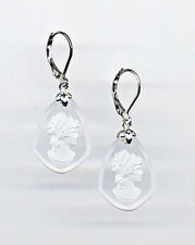 Cameo Reverse Carved Intaglio Art Glass Earrings *Sterling Silver 925 Czech