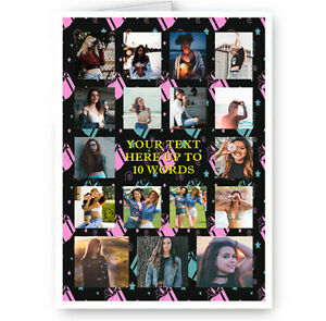 Personalised 17 Photos & Text Collage All Occasion A5 Card, Birthday & More.