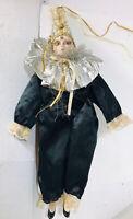 """Vintage Porcelain Court Jester Doll 18"""""""