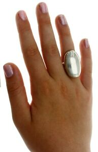 New Real Solid 925 Sterling Silver Polished 1 1/4 Inches Long Dome Plain Ring