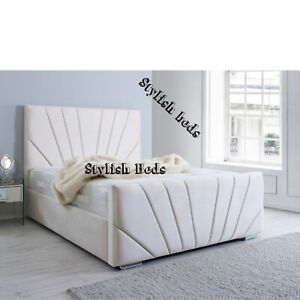 Plush Velvet Sunrise Sleigh Bed Frame Available In All Sizes and Colors