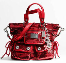 COACH POPPY RED SEQUIN SPOTLIGHT TOTE BAG 13821~HARD TO FIND COLOR EUC