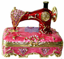Red Sewing Machine Crystals Jewellery Jewel Trinket Ring Box - Ship from UK