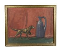 Antique Vintage Mid Century Still Life Oil Painting Brass Dog and Jug Signed