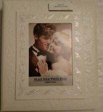 Vintage Hallmark Wedding Album New In Box White Embossed Roses Design
