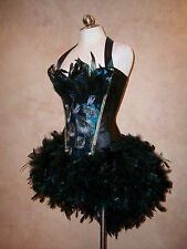 Deluxe Peacock Dress Blurlesque Showgirl Corset Feather Tutu Costume